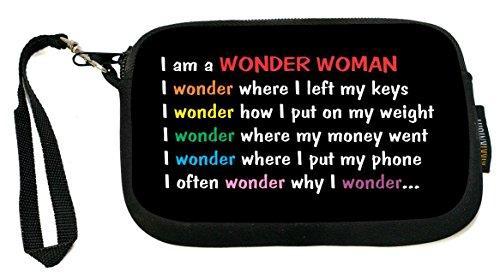 Rikki Knight Wonder Woman - Neoprene Clutch Wristlet Coin Purse with Safety Closure - Ideal case for Cosmetics Case, Camera Case, Cell Phones, Passport, - Clutch Wonder Woman