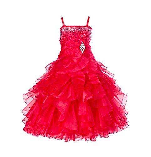 Elegant Stunning Rhinestone Organza Pleated Ruffled Flower Girl Dress 164s (Straps Girls Dress)