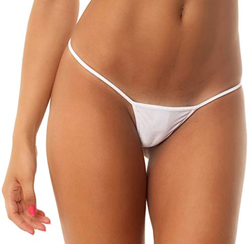 THE MESH KING Coqueta Brazilian Teeny Micro Thong Mini Bikini Swimsuit G String White-Medium