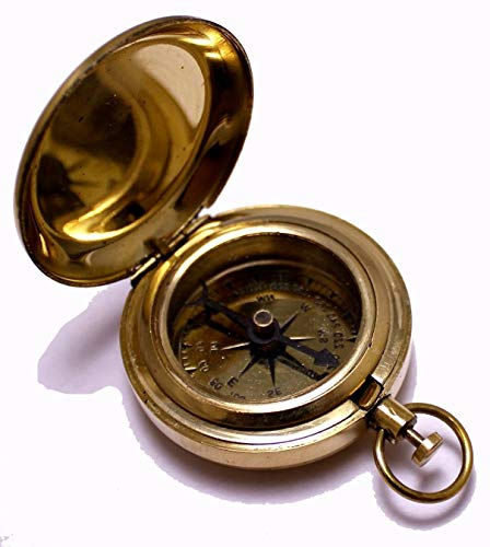 "NauticalMart 1.75"" Classic Pocket Antique Style Camping Brass Compass"