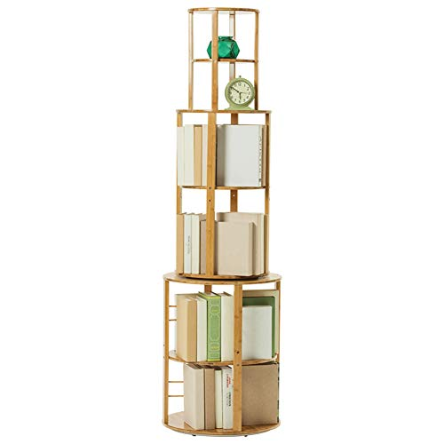 DULPLAY 100% Bamboo Bookshelf,Revolving Bookcase 360 Rotating Organizer Cabinet Rack Spinning Design Removable Adjustable Holds up to 300 DVD's or Books-A 50x175cm(20x69inch)