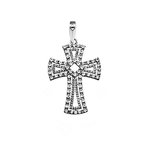 Croix pendentif or blanc 18k zircone cubique [AA4926]