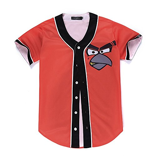 SAINDERMIRA Unisex 3D Digital Galaxy Baseball Jersey Button Down Shirt(Angry-Bird,L/XL)