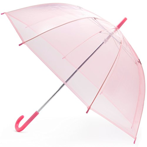 Price comparison product image LHU Wind-Proof Bubble Umbrella, Hook Handle with Dome Canopy, Reinforced Rain and Weather-Resistant Design, Rain Gear for Kids, Designed in the USA, Light Pink