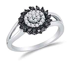 Size 4.75 - 925 Sterling Silver Black & White Round Diamond Halo Circle Engagement Ring - Channel Set Round Center Setting Shape (1/4 cttw.)