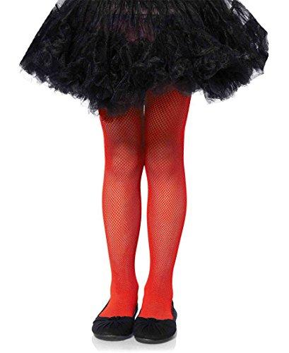 Leg Avenue 4067 Girls Fishnet Pantyhose Tights - Red - Large