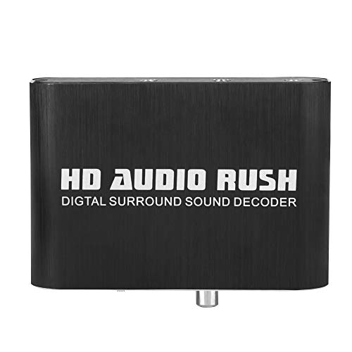 Digital to Analog 5.1 Audio Decoder with RCA and 3.5mm Interface Support Digital Fiber Optical Coaxia DTS AC3 Dolby Signal (Black)