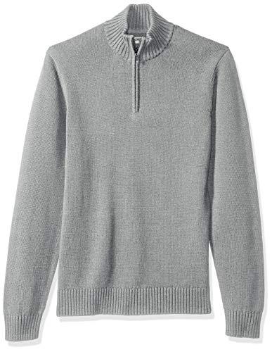 Goodthreads Men's Soft Cotton Quarter Zip Sweater, Heather Grey, Medium (Mens Sweater Quarter Zip)