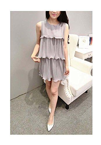 Women 5 Blouse Flouncing Short Sleeveless Grey Crewneck Dress Ruffle ARJOSA® 8Uwd8A