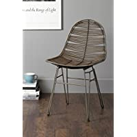 East at Main Stark Brown Rattan Square Dining Chair, (22 L x 20 W x 35 H)