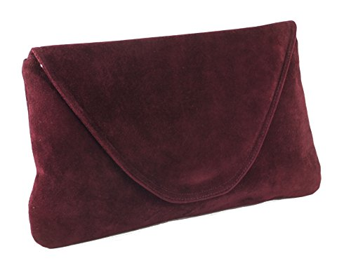 Loni Womens Attractive Large Faux Suede Clutch Bag/Shoulder Bag Wedding Party Occasion Bag in burgundy