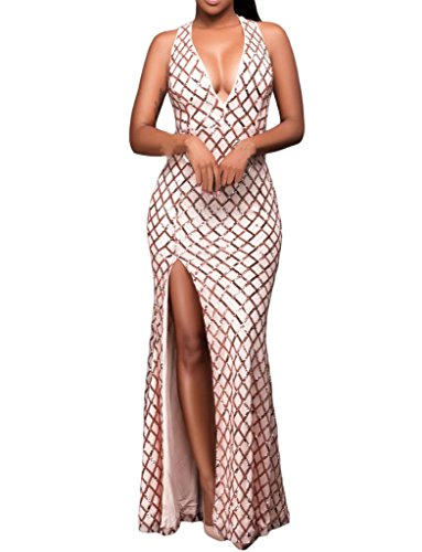 Prom Ball Gown Evening Designer - Shawhuwa Womens Sexy Sequins V Neck Key-hole Back Slit Evening Gown M A-pink