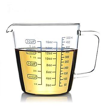 Zoomy Far Zoomy weit: vaso medidor de cristal con escala de leche ...