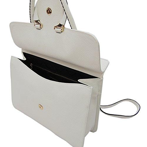 PLINIO VISONA' Damen Fusion Schultertasche, Weiß (Off White), 9x26x33 cm