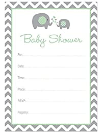 24 Cnt Mint Elephant Baby Shower Fill-in Invitations BOBEBE Online Baby Store From New York to Miami and Los Angeles