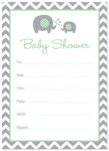 24 Cnt Mint Elephant Baby Shower Fill-in Invitations