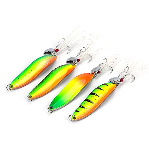 4 Packs Fishing Lures Metal Fishing Spoons Saltwater Hard Spinners Casting Sinking Lures for Northern Pike Salmon Walleye and Bass Fishing (Rainbow)
