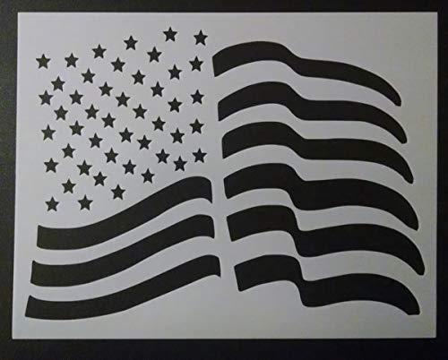(Custom Stencil USA US American Flag Waving Wave Wavy 8.5 x 11)
