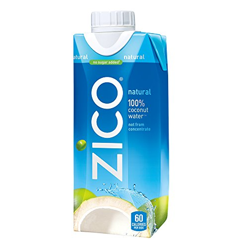 ZICO Natural 100% Coconut Water Drink, No Sugar Added Gluten Free, 11.2 fl oz, 12 Pack (Natural Water 100% Coconut)