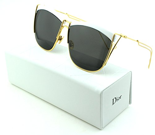 Dior SoElectric Square Women Sunglasses (White Gold Frame, Dark Brown Grey Lens - Sunglasses Dior White