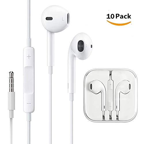 10 Pack Homeyes Earphones/Earbuds/Headphones/Headsets to 3.5mm with Stereo Mic&Remote Noise Isolating Control Headphone Compatible with for Most Smartphones - White (10 Pack)