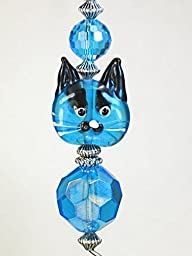In Love with Kitty Cats Turquoise Blue Glass Kitten Face Ceiling Fan Pull