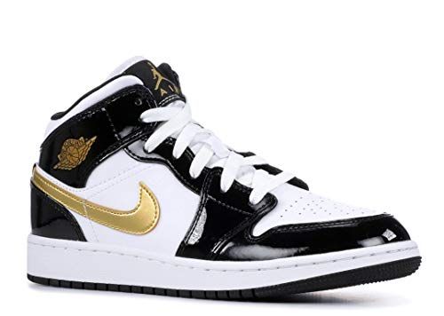 Jordan Air 1 Mid Se (Gs) (Black/Metallic Gold-White, 7Y)]()