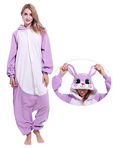 Bunny Animal Onesie Cosplay Pajamas Rabbit Cosplay Costume Pajamas Animal Sleepwear for Women Men -