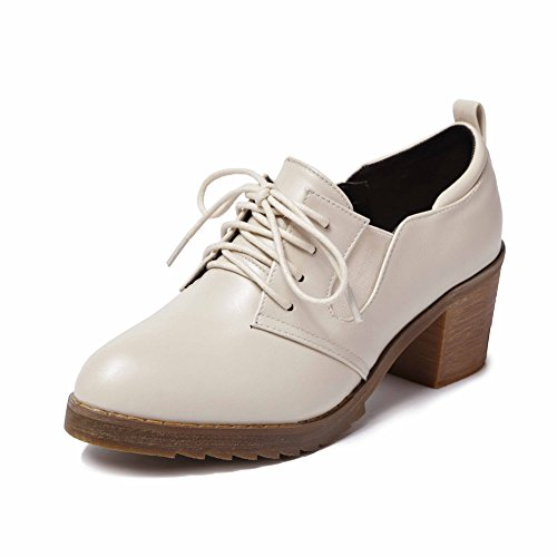 Beige Elastic Western Retro Women's Heel up JULY T Shoes Shoes Brogue Oxfords Lace Mid wgSOnv