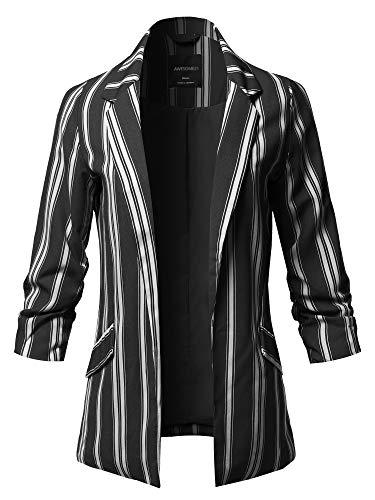 Blazer Pinstripe Lined (Pinstripe 3/4 Sleeves Notched Collar Blazer Jacket Black Size M)