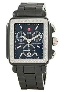 Michele Woman's MWW06F000001 Deco Ceramic Black Diamond Watch