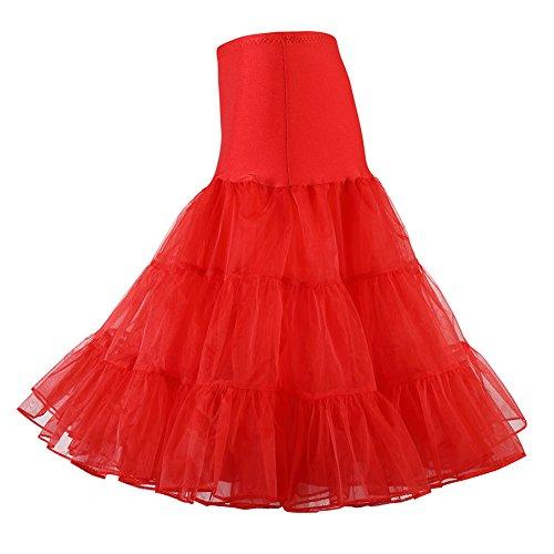 Cristal Underskirt Rouge Tutu Jupes annes HIQUEEN des Crinoline en Jupon 50 Petticoat Femmes Dsoss qOwWW78T