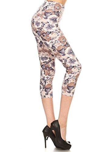 R785-CA-3X5X Muted Floral Capri Print Leggings