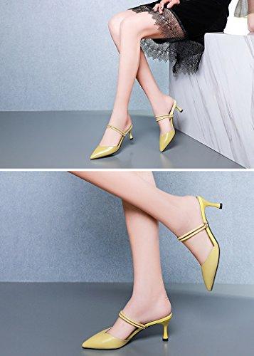 ZCJB Baotou Mit Schuhe Gelb Hausschuhe Hohen Spitz 35 Farbe größe Sandalen Absätzen Halbschuh Leder Fein Ms Mit TrHxYT