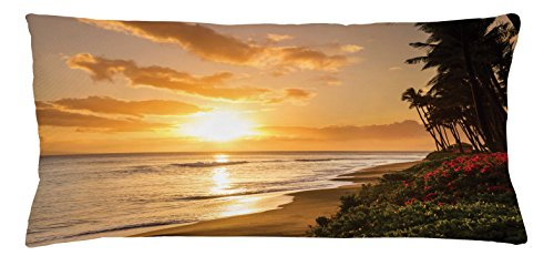 Hawaiian Throw Pillow Cushion Cover by Ambesonne, Warm Tropical Sunset on Sands of Kaanapali Beach in Maui Hawaii Traveling, Decorative Square Accent Pillow Case, 36 X 16 Inches, Orange Green - Kaanapali Stores