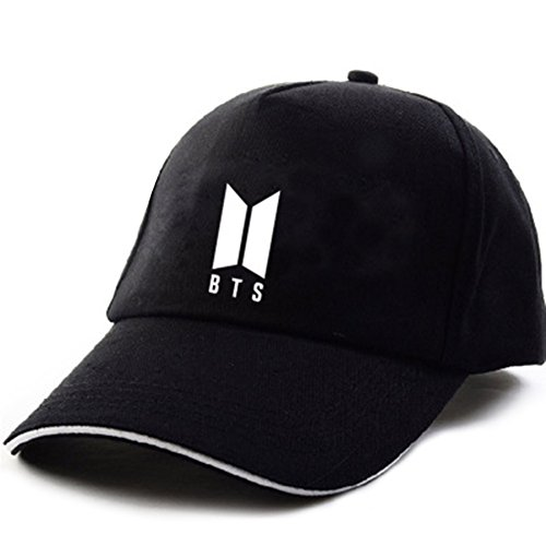 AhlsenL BTS Bangtan Boys Baseball Cap Adjustable Casual Sports Sun Hat Snapback Hip Hop Flat Hat for Boys & Girls (BTS-1, Black)