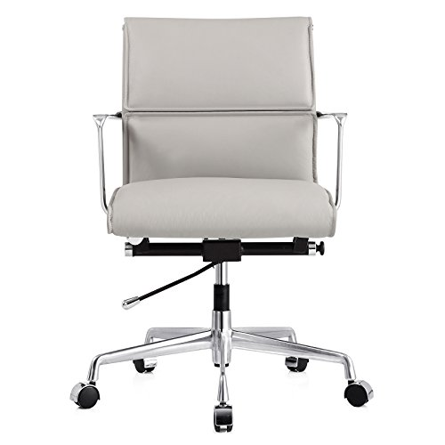 Meelano M347 Office Chair in Italian Leather, Grey