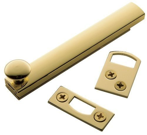 Surface Bolt Each Polished Brass - Baldwin 0322 4 Inch General Purpose Surface Bolt, Lifetime Polished Brass