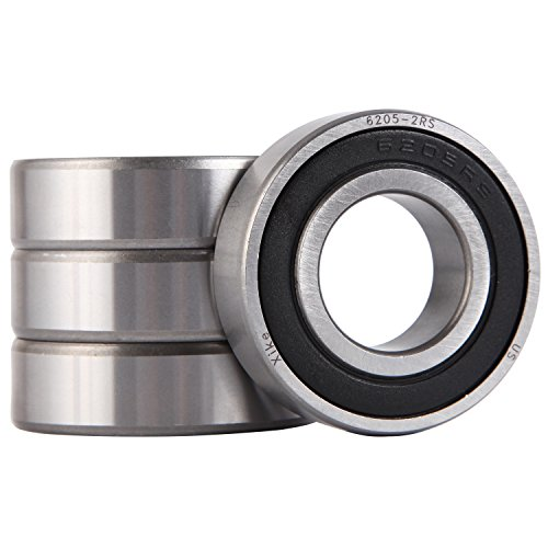 XiKe 4 Pack 6205-2RS Bearings 25x52x15mm, Stable Performance and Cost-Effective, Double Seal and Pre-Lubricated, Deep Groove Ball Bearings.