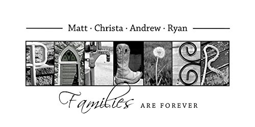 Personalized Family Gift - Creative Letter Art - Custom Alphabet photography - Photo Letter Art - Custom Name Sign - Family Sign- 10x20 Unframed