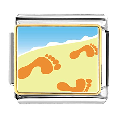 - GiftJewelryShop Gold Plated Footprints in The Sand Bracelet Link Photo Italian Charm