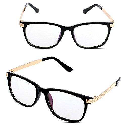 Doober Men Women Vintage Eyeglass Frame Glasses Spectacle Clear Lens Optical Eyewear (Black Gold, 6.6)