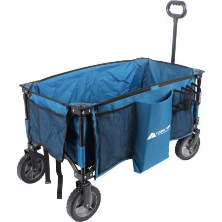 (Portable and Durable OZARK TRAIL FOLDING WAGON With Telescoping Handle,BLUE,Perfect for Hauling All Your Essentials Around the Campsite or)