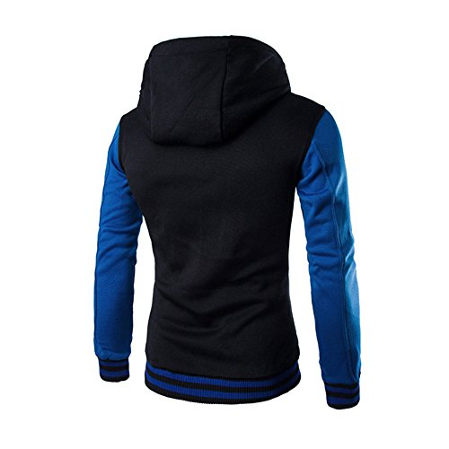 Hooded Blue Retro Long HARRYSTORE Jacket Men Slim Button Outerwear Hoodie Sleeve Hooded Sweatshirt CpqRTHz