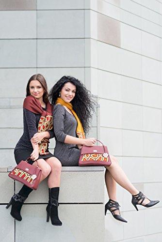 TATI Boduch sacchetto del progettista per le donne, il modello: Jasper, vera pelle: marrone, maglieria: magenta