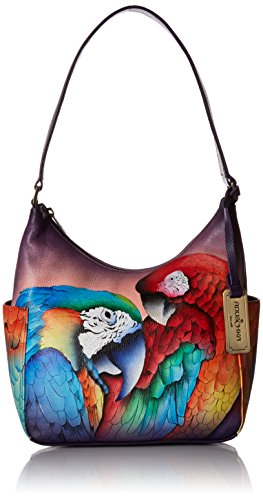 Anuschka Women's Genuine Leather Handbag | Hand Painted Hobo With Side Pocket | Rainforest Royalty
