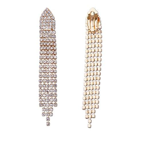 Clip on chandelier earrings amazon bridal fashion jewelry earrings gold crystal chandelier clip on earring aloadofball Choice Image