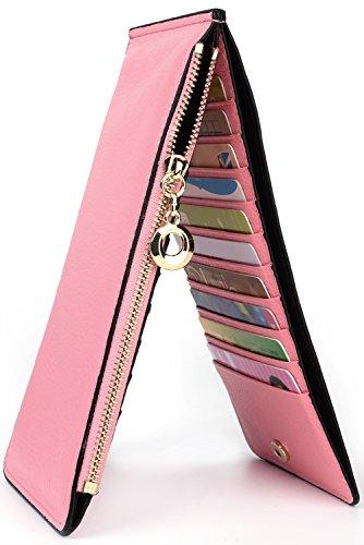 Tarjeta De Caja Organizador Yaluxe de color Cuero Bolsillo GRAN Luz Con Multi VENTA De Regalo Zipper Cartera Mujer Genuino Oranga rosa CwxfFq8