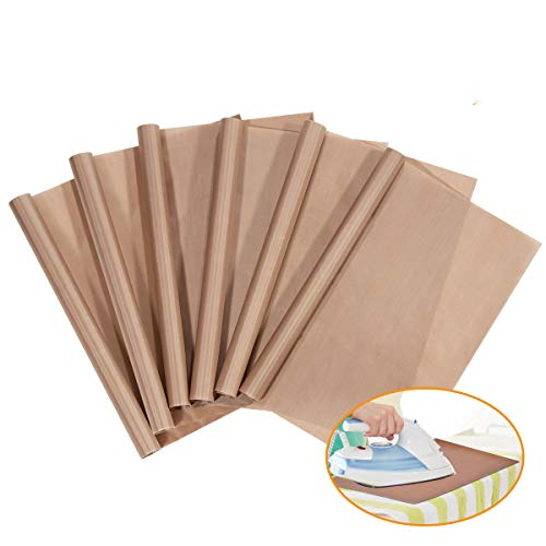 PTFE Teflon Sheet, 6-Pack Teflon Sheet for Heat Press Transfers, 16 x 20 Heat Resistant Craft Sheet, 100% Non Stick Protects Iron and Work Area (6-pack)