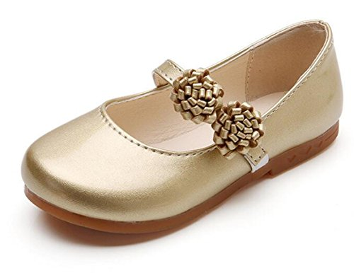 Bumud Toddler Little Girls Dress Ballet Mary Jane Flower Decor Synthetic Leather Flat Shoes (10 M US Toddler, Golden)